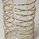 Wire Coil Wrap Armor Cuff Bracelet Designer Style Gold Abstract Avant Garde Statement