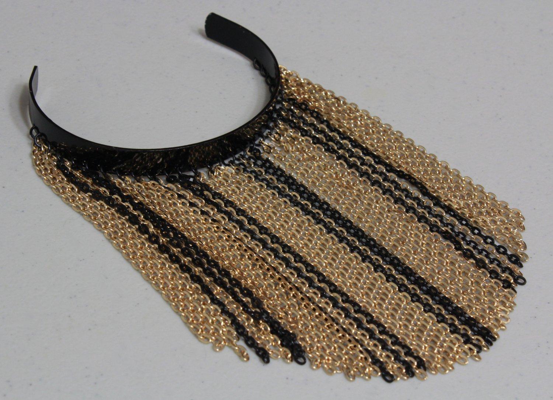 bicep fringe chain cuff bracelet arm gold black