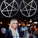 HUGE Pentagram Hoop Earrings Wicca Pagan Goth Gothic DEFECTIVE READ DETAILS Silver Star Pentacle