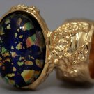 Arty Oval Ring Blue Multi Opal Vintage Glass Gold Artsy Chunky Knuckle Art Statement Size 4.5