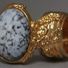 Arty Oval Ring White Marble Glass Gray Black Gold Artsy Chunky Deco Knuckle Art Statement Size 6