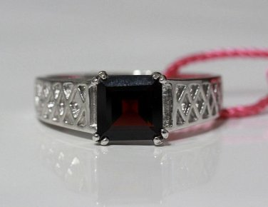 Garnet Sterling Silver 925 Ring Princess Cut Gemstone Birthstone Womens Size 11