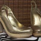 Nine West Popgoes Chunky Platform Shoes Gold Bronze Reptile Dress Heels Pumps Womens Size 9.5