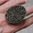 Massive Druzy Style Ring Chunky Gold Armor Stretch Band Oval Hematite Colossal Statement