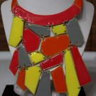 Geometric Multi Color Bib Necklace & Earrings Set Neon Gold Statement Shattered Glass Shapes