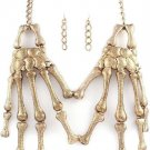 Skeleton Hands Necklace & Earrings Set Large Statement Antique Gold Chain Chunky Skull Bones