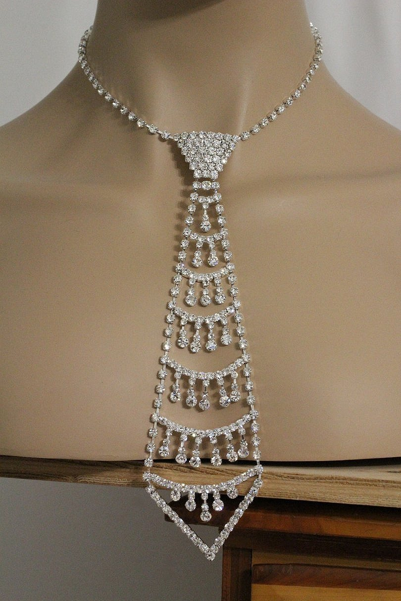 Rhinestone Tie Necklace Silver Fashion Woman Metal Large ...