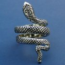 Snake Ring Reptile Python Serpent Antique Silver Designer Style Statement Tribal Armor Size 7