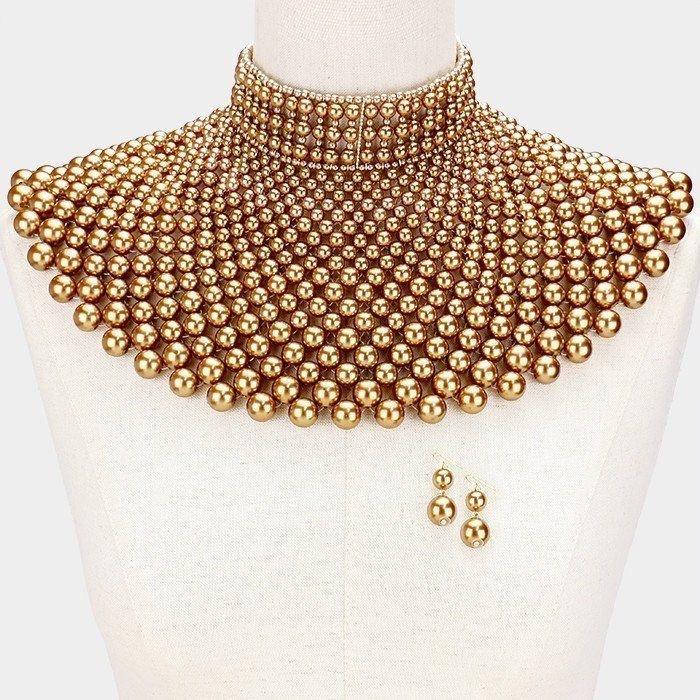 Pearl Bib Beads Necklace Cleopatra Queen Collar Choker Gold Wedding Bridal Egyptian