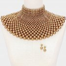 Pearl Bib Beads Necklace Cleopatra Queen Collar Choker Gold Wedding Bridal Egyptian