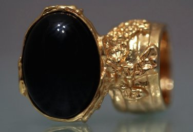 Arty Oval Ring Black Gold Knuckle Art Chunky Artsy Armor Avant Garde Jewelry Statement Size 10