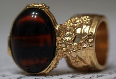 Arty Oval Ring Tortoise Glass Brown Black Gold Chunky Artsy Knuckle Art Vintage Statement Size 6