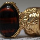 Arty Oval Ring Tortoise Glass Brown Black Gold Chunky Artsy Knuckle Art Vintage Statement Size 4.5