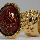 Arty Oval Ring Red Wine Gold Drizzle Knuckle Art Deco Avant Garde Designer Chunky Statement Size 4.5