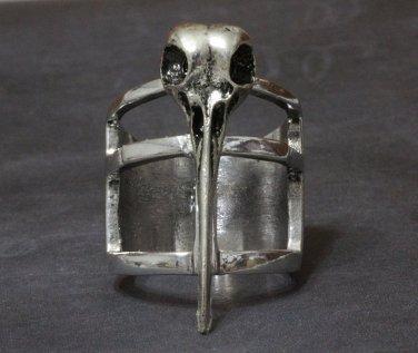 Bird Skull Ring Steampunk Poe Taxidermy Goth Antique Silver Avant Garde Armor Knuckle Size 8 7.5