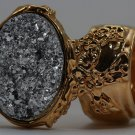 Arty Oval Ring Druzy Style Silver Gold Artsy Designer Chunky Deco Knuckle Art Statement Size 4.5