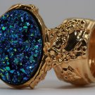 Arty Oval Ring Druzy Style Blue Green Gold Artsy Designer Chunky Deco Knuckle Art Statement Size 4.5