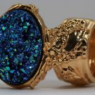 Arty Oval Ring Druzy Style Blue Green Gold Artsy Designer Chunky Deco Knuckle Art Statement Size 5.5