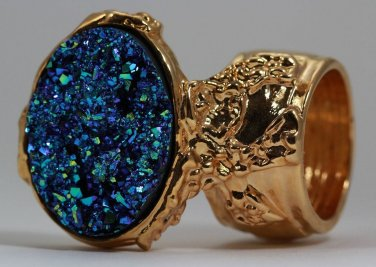 Arty Oval Ring Druzy Style Blue Green Gold Artsy Designer Chunky Deco Knuckle Art Statement Size 10