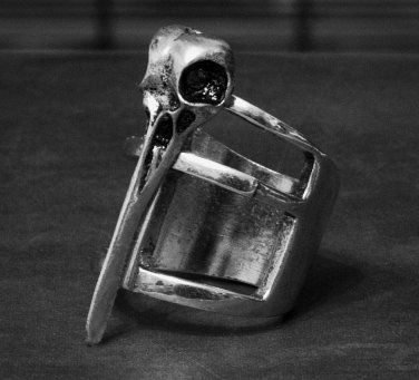 Bird Skull Ring Goth Wicca Raven Crow Statement Knuckle Art Cage Antique Silver Tribal