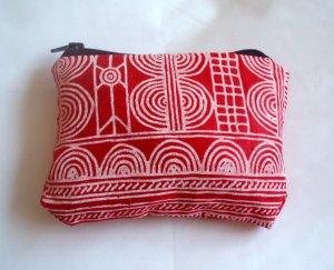 Red and White Batik Zipper pouch