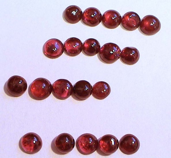 Set of FIVE Genuine Garnet Cabochons