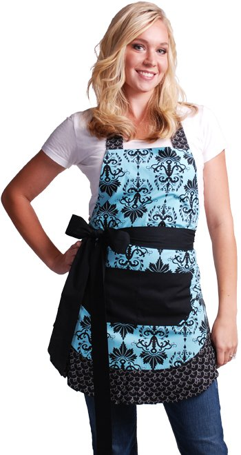 Flirty Aprons Women's Original Aqua Damask Apron