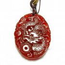 good luck genuine Natural Red agate / Carnelian Carved sacred Dragon Pendant charm / necklace charm