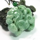good luck Amulet Auspicious  Natural Green jadeite carved '' Pi Yao '' jade charm Pendant
