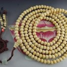 Tibetan Buddhism Hand Carved Natural white sandalwood meditation yoga 216 prayer beads mala