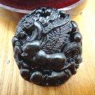 Amulet auspicious Natural black jade Carved Pegasus / Horse charm Pendant necklace