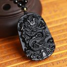 natural Obsidian dragon good luck chinese dragon pendant