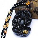 natural Obsidian pi yao good luck chinese dragon pendant