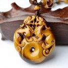 good luck natural tiger eye stone pi yao pendant