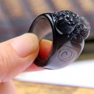 natural ice Obsidian  good luck  charm pi yao ring