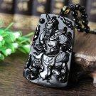 "Natural Scrub Ugyen obsidian pendant mighty ""Guan Yu"""
