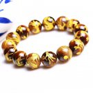 Hand-woven natural Yellow Tiger Eye carved dragon beaded charm Bracelet