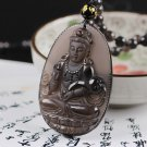 natural ice obsidian buddha charm guanyin beaded  pendant necklace