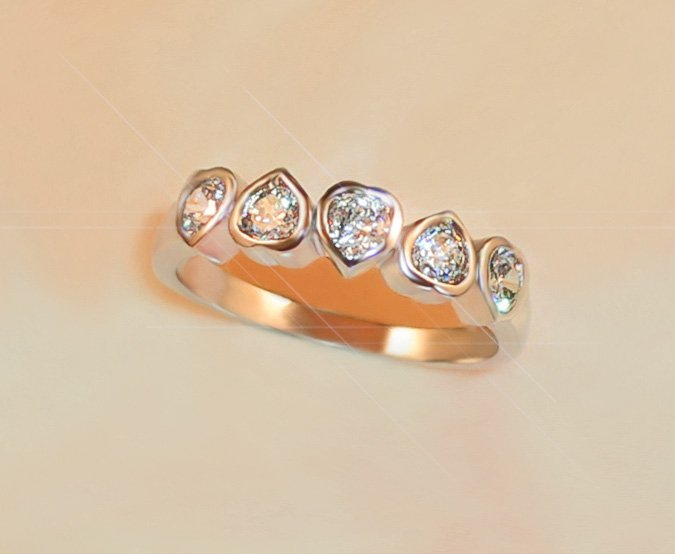 FREE SHIPPING  5-stone ENTWIND HEARTS RUSSIAN SIMULATE DIAMOND RING