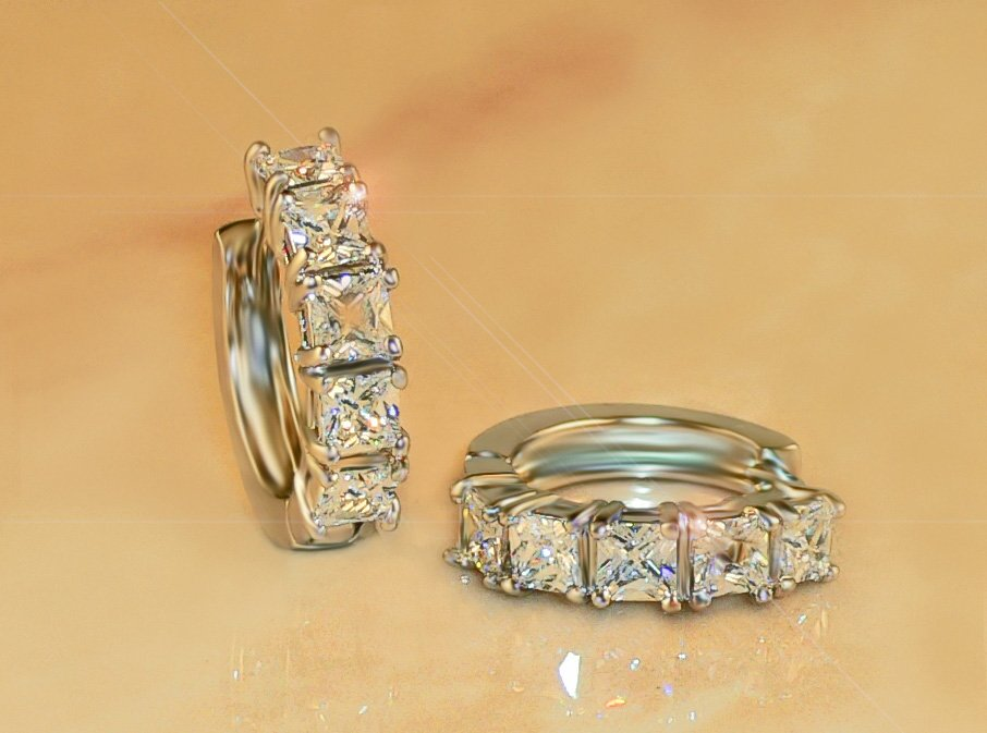 FREE SHIPPING 3.3ct 10pc PRINCESS RUSSIAN SIMULATE DIAMOND EARRINGS