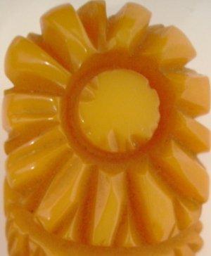 Vintage Bakelite Yellow Flower Clip