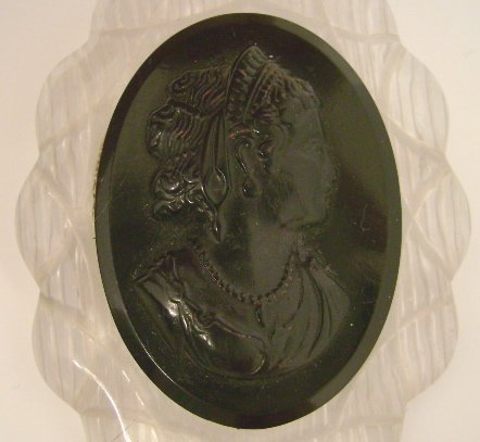 Vintage Bakelite Lucite Cameo Pin Black