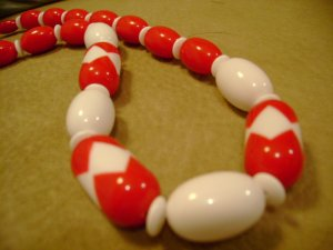 Vintage Bead Necklace Red and White 1950s Retro