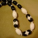 Vintage Bead Necklace Black and White 1950s Retro