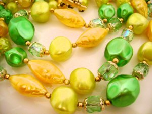 Vintage Necklace and Earrings Green and Yellow 1950s Bead