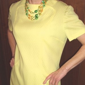 Vintage Dress Womens Yellow Short Sleeve