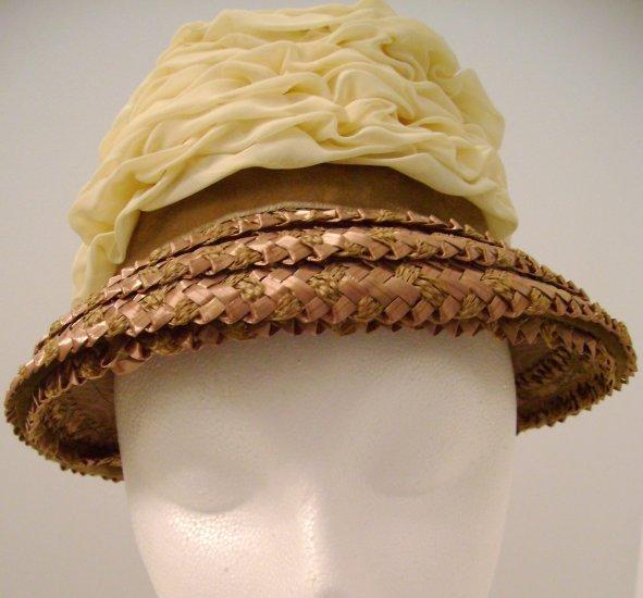 Vintage Hat Straw Sheer Cream