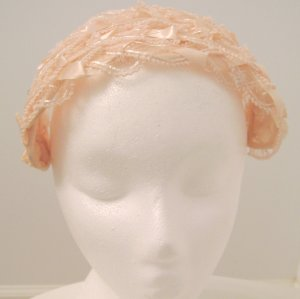 Vintage Headpiece/ Hat Pink Ribbon Lace