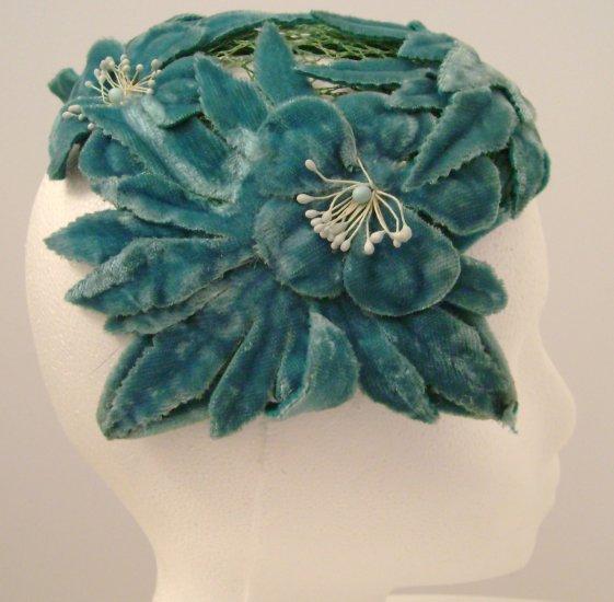Vintage Headpiece/ Hat Turquoise Velvet