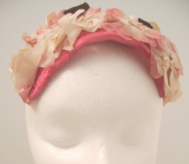 Vintage Headpiece/ Hat Pink Flowers